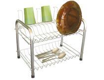 Escorredor de pratos para 12 pratos 5 copos e talheres em aço cromado Berço Desmontável - Csk