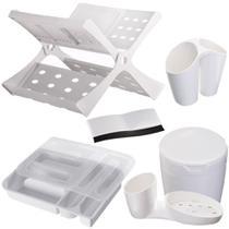 Escorredor de Pratos Porta Talheres Detergente Lixeira Organizador Astra Branco -