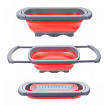 Escorredor e lavador de legumes - ajustável a pia e retrátil - cor vermelha - Dinâmica
