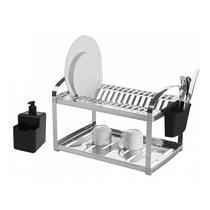 Escorredor Louça Inox Brinox Suprema 16 Pratos Com Dispenser -