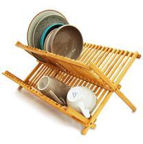 Escorredor Louças Bambu Porta Pratos Talheres Dobrável Pia - Yoi -