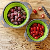 Escorredor Macarrao Silicone 30 Cm Dobravel Vapor Legumes Verduras Cozinha Verde - Ideal