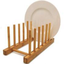 Escorredor Porta Pratos em Bambu para 6 Pratos - Wincy