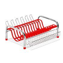 Escorredor Secador De pratos Com Porta copo e talher vermelho N343-5 - Niquelart