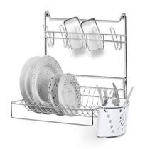 Escorredor / secador de pratos / talher / copo de parede aramado com porta talher branco Niquelart -