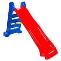 Escorregador grande 4 degraus  vermelho com azul - Multyplastic
