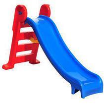 Escorregador infantil médio 3 degraus azul e vermelho - Natalplast