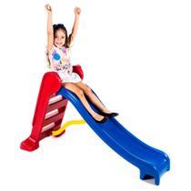 Escorregador Médio Divertido - Escada Vermelha E Rampa Azul - Lacuca Brinquedos