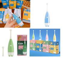 Escova de dentes eletrica infantil automatica macia kit saude dental 3 a 15 anos com refil a pilha - MAKEDA
