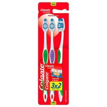 Escova Dental Colgate Classic Clean Macia Cores Sortidas com Limpador de Língua Leve 3 Pague 2 Unidades -