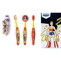 Escova Dental Infantil Cerdas Macias Com Capa Protetora Dc Super Friends - Mulher Maravilha - Art Brink