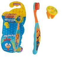 Escova dental Infantil Cerdas Macias com Capa Protetora Galinha Pintadinha - Frescor