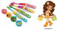 Escova dental Infantil Cerdas Macias com Capa Protetora Turma da Moranguinho - Laranjinha - Frescor