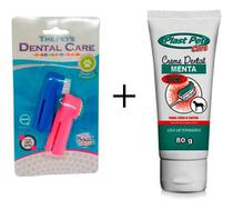 Escova Dentes Para Cachorro E Pasta Dental Kit Higiene Pet - Plast Pet