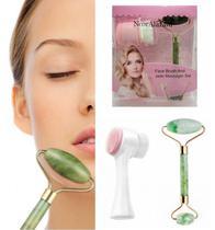 Escova Face Brush + Rolo Jade: Tratamento Facial Massagem - Nooralazawi