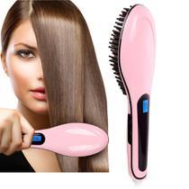 Escova Mágica Alisadora 230ºc Com Lcd- Digital - Bivolt - Rosa - Fast hair straightener - Supermedy