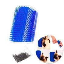 Escova Massageadora para Gatos com Catnip de Fixar na Parede Azul  Truqys -