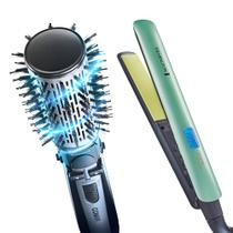 Escova Modeladora Rotating Air Brush Diamond Brilliance Conair + Prancha Shine Therapy 2x Remington