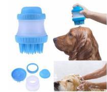 Escova Pente Banho Cachorro Cão Pet Massageadora Dispenser Sabão Shampoo Azul ou Verde -