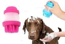 Escova Pente Massageadora Banho Cão Banho Dispenser Sabão Shampoo Rosa -