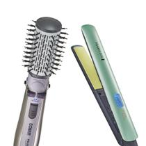 Escova Rotating Air Brush Titanium Conair + Prancha Shine Therapy 2x Remington