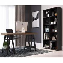 Escritório Completo  com Escrivaninha 4 Prateleiras e Estante 10 Nichos Siena Móveis Marrom/Preto -