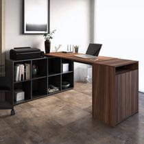Escritório Completo com Mesa em L 8 Nichos e Balcão 2 Portas 1 Nicho Cool Espresso Móveis Ipê/Preto -