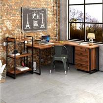 Escritório Completo com Mesa para Computador, Estante Livreiro e Gaveteiro Volante Espresso Móveis Nogal/Preto -
