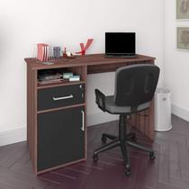 Escrivaninha 1 Porta 1 Gaveta com chave 1 Nicho Artany Ipê/Preto -