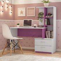 Escrivaninha com Estante 2 Gavetas Poli Espresso Móveis Branco/Rosa -