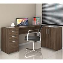 Escrivaninha De Canto 2 Portas e 3 Gavetas Nogal Trend - Office/Notável -