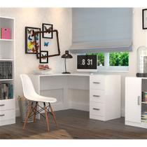 Escrivaninha em L com 3 Gavetas Office Plus Appunto - Branco -