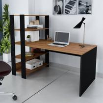 Escrivaninha Home Office Com Estante 3 Prateleiras Match Pinho/Preto - Artely -