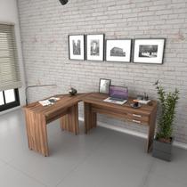 Escrivaninha Mesa De Escritório Em L Trevalla 1,80x1,40m c/ 2 Gavetas Nogal -