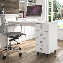Escrivaninha Para Computador Office Com 4 Gavetas Dubai Branco Brilhante - Lukaliam Moveis - Lukaliam Móveis