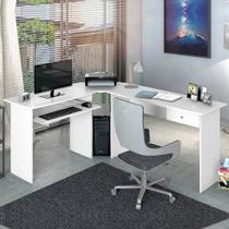 Escrivaninha para Escritório em L 1 Gaveta Max Zanzini Branco Ártico -