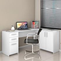 Escrivaninha para Escritório em L 2 Gavetas Office Notável Branco -