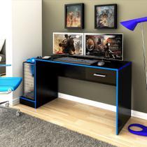 Escrivaninha pc Gamer preto Azul - Artely