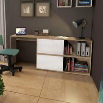 Escrivaninha Reta ou em L com Armário Olimpo Espresso Móveis Natura/Branco -