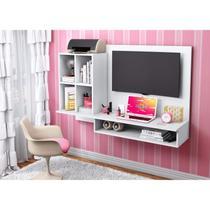 Escrivaninha Suspensa com Painel para TV até 37 Polegadas Mimo Siena Móveis Branco Textura -