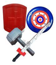 Escudo Espada Martelo Thor Fantasia Heroi Vingadores Capitão Zelda - Leplastic