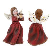 Escultura Angelical  Anjo De Resina Decorativa 16cm Altura - Nl