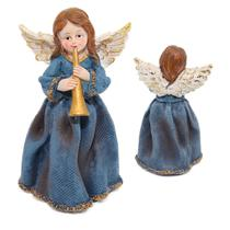 Escultura Angelical Anjo De Resina Decorativa 16cm Azul - Nl