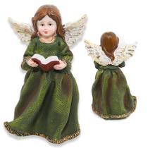 Escultura Angelical Anjo De Resina Decorativa 16cm Verde - Nl