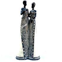 Escultura Decorativa Resina Casal Africanos 37cm Altura - Wm