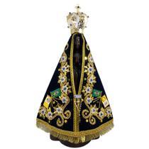 Escultura Madeira Imagem Nossa Senhora Aparecida 49cm  Manto Coroa Broche Artesanato Mate -