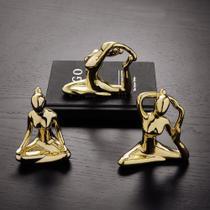 Escultura yoga mão na cabeça porcelana dourado - Mart