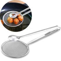 Escumadeira De Fritura Com Pegador Inox para Pastel Batata Frita bife frango a passarinho - Escumadeira com pegador