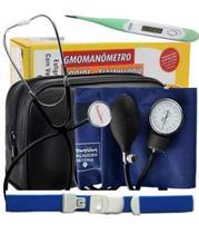 Esfigmomanômetro Aparelho De Pressão Arterial + Termômetro + Garrote - Premium