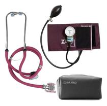 Esfigmomanometro Aparelho Medidor De Pressão Arterial + Esteto Duplo + Estojo - Pamed